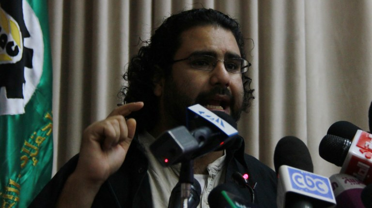 Activist Alaa Abdel Fattah in a press conference on 27 March 2013 (File Photo by Mohamed Omar/DNE)
