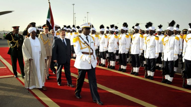 President Morsi on a historic visit to Sudan (Handout photo from the Egyptian Presidency)