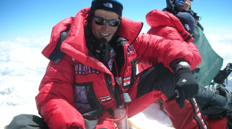 Egyptian mountaineer, Omar Samra at the top of Mount Everest in 2007. Samra has conqured six peaks from the Seven Summits challenge and will attempt to complete the challenge in Juune 2013 (Handout picture from Blue Ocean PR)