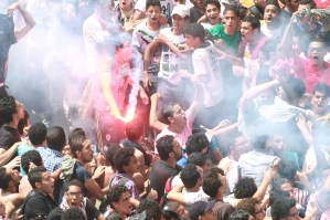 A Giza Criminal Court acquitted Sunday eight defendants of the hardcore Zamalek SC fan group Ultras White Knights (UWK) of charges of throwing acid on the club's president.  (Photo by Ahmed ALMalky/DNE)