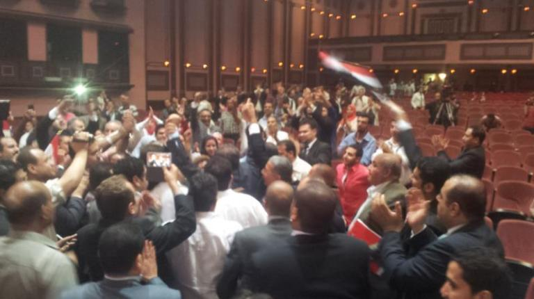 Celebrations of Free Egyptians Party's members after Ahmed Said was re-elected party chairman with 734 votes, defeating Ehab Al-Tamawy who got 266 votes, while 234 party members competed over  the 100 seats of the party's supreme committee. (Photo From Free Egyptians Party Facebook Page)