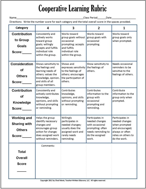 Cooperative Learning 7 Free PDF Assessment Instruments - group activity evaluation template