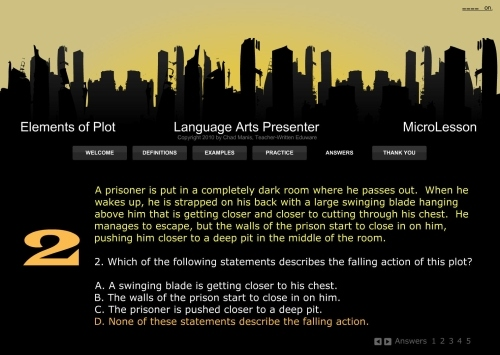 Language Arts A Multimedia Mini Lesson for The Elements of Plot
