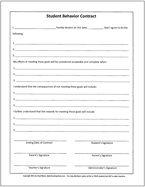 student behavior contract template - Student Contract Templates