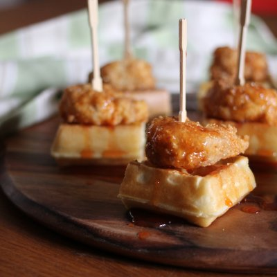 Bangin' Shrimp & Waffles with Honey, Sriracha and Lime Syrup