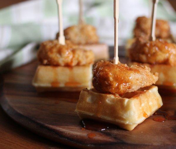 Bangin' Shrimp & Waffles with Honey, Sriracha and Lime Syrup