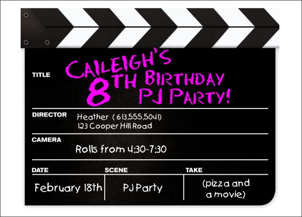 Movie Clapper Kids Party Invitation Template by Daisy Designs - movie invitation template free
