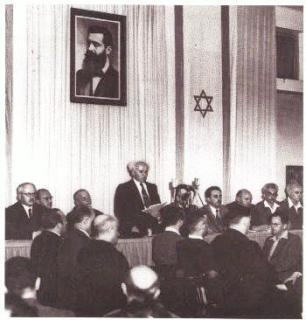 "David Ben Gurion secara sepihak memproklamirkan berdirinya ""Negara Zionis Israel"", 14 Mei 1948. (Doc. desertpeace)"