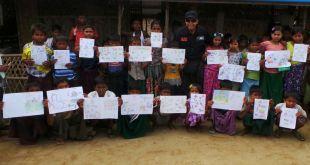 Anak-anak pengungsi Rohingya setelah lomba menggambar (foto: act)