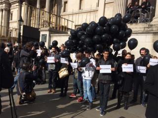 Aksi solidaritas untuk wartawan Aljazeera yang ditangkap pemerintah kudeta di Mesir (aljazeera)