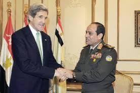 Menlu AS, John Kerry, dan Abdul Fatah As-Sisi (arabsolaa)