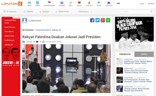 """Cuplikan situs Liputan6.com yang memuat berita hoax berjudul """"Rakyat Palestina Doakan Jokowi Jadi Presiden"""" pada Senin Sore (23/6/2014) dengan label """"advertorial"""". (dakwatuna/hdn)"""