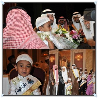 Penampilan Musa diantara peserta dan Juri Lomba Tahfizh Internasional di Jedah, Arab Saudi.  (Irhamni Rofiun)