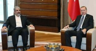 Presiden Turki, Erdogan dan Ketua Biro Politik Hamas, Khaled Meshaal di Ankara. (alresalah.ps)