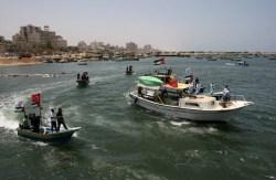 Patroli Polisi Hamas Palestina di Pantai Gaza pada 29 Mei 2010 dalam mempersiapkan kedatangan Freedom Flotilla. (Getty Images)