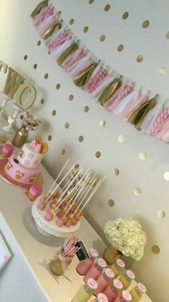 Minnie mouse en dorado y rosa - Decoracion de cumpleanos rosa y dorado ...
