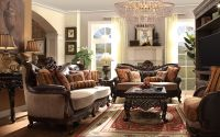 Leander Formal Living Room Set in Antique White Wash ...