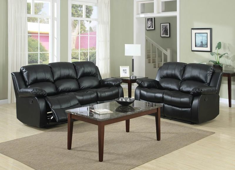 Dallas Designer Furniture Cranley Reclining Leather Living Room - black living room set