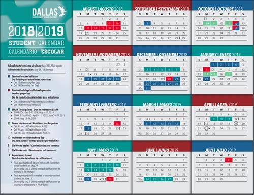 DISD Student Calendar