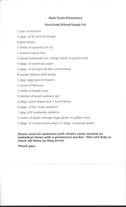 School Supply Lists / 1st Grade Supply List