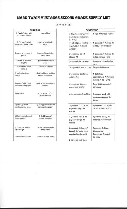 School Supply Lists / 2nd Grade Supply List