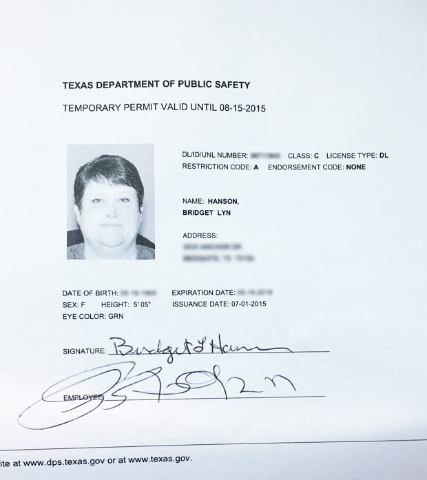 Template Texas NEW drivers license editable photoshop file psd - address change form