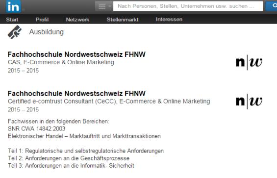 Beispiel Ausbildung: CAS E-Commerce & Online-Marketing FHNW