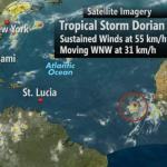 Tropical Storm Dorian 2100m east of Lesser Antilles (St Lucia News)