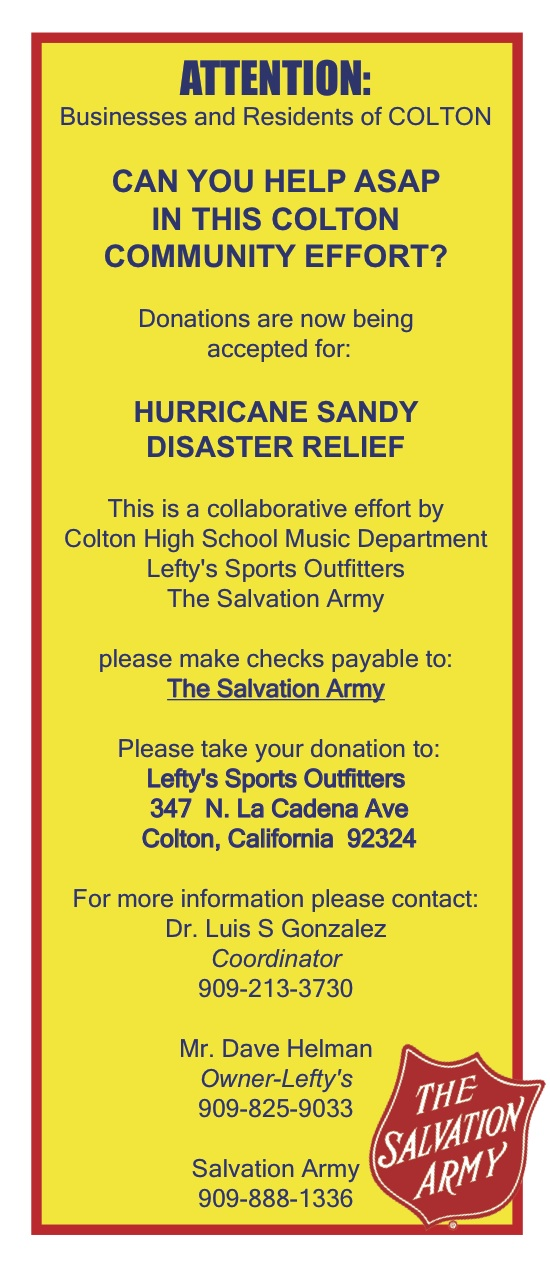 Salvation Army Hurricane Sandy Disaster Relief Fund Drive - Dameron - Disaster Relief Flyer