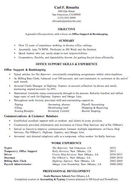 sample bookeeping resume