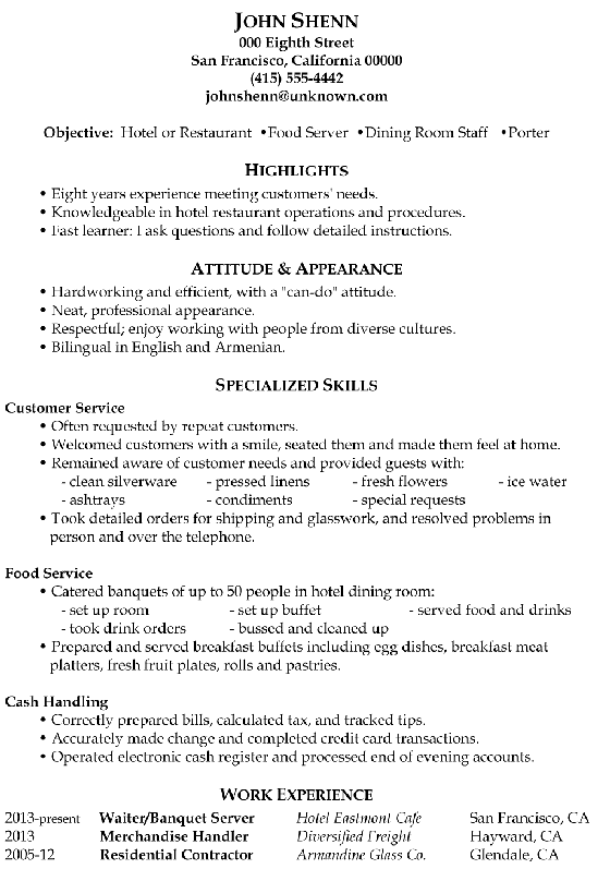 resume examples to a hotel room service