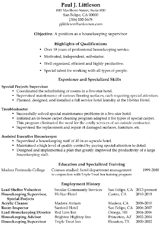 resume sample objective for housekeeping