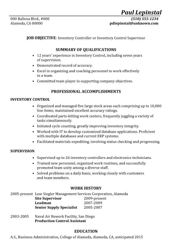 sample resume for warehouse controller