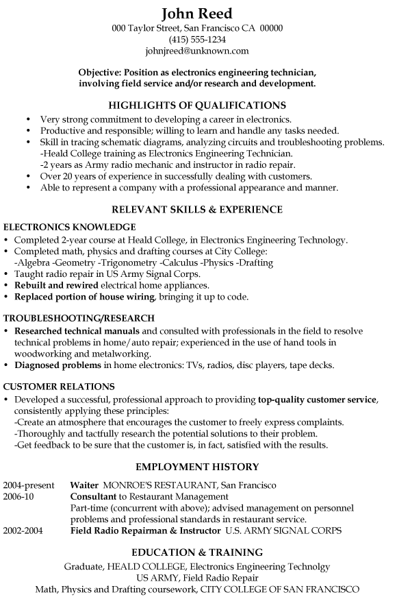 sample resume summary for electronics technician