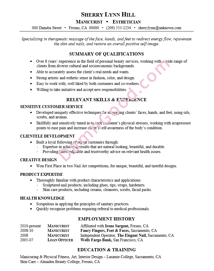 resume samples for no college degree