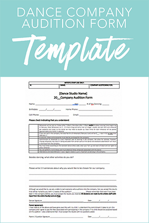 Dance Company Audition Form - audition form