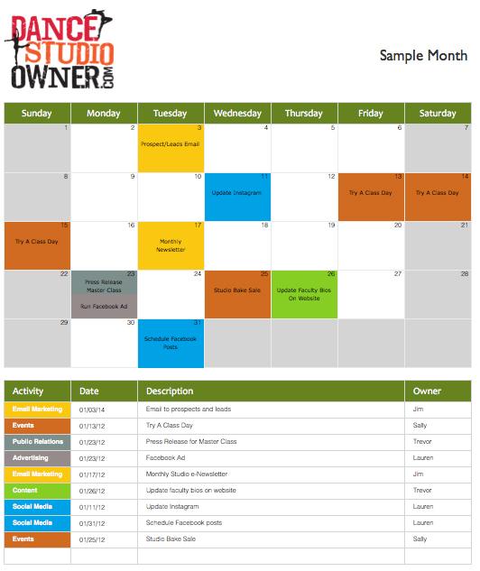 dance studio schedule template - Onwebioinnovate - sample marketing schedule