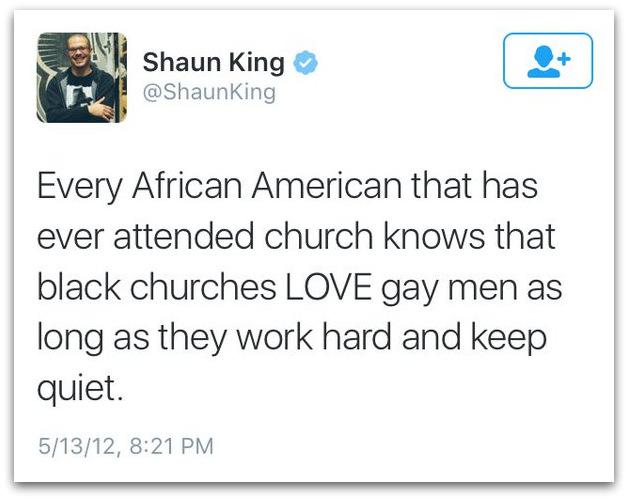 Shaun King gays black church