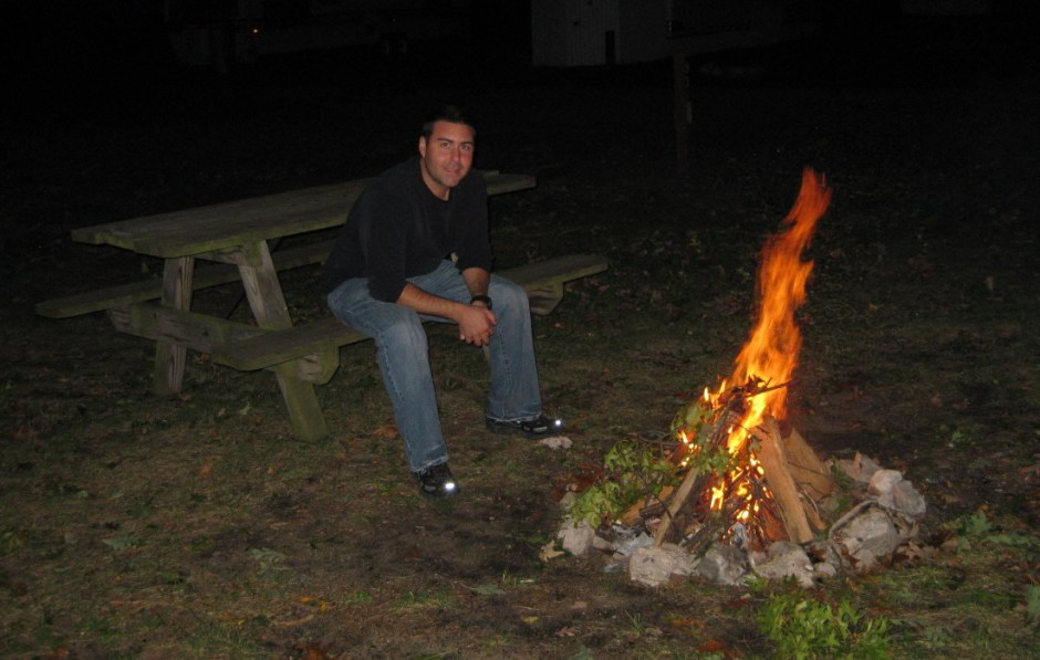 Camp fire while truck camping