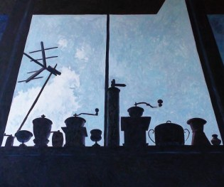 Contre-jour VI (Black and Blue Still Life) - oil on linen, 100x120 cm, 2009