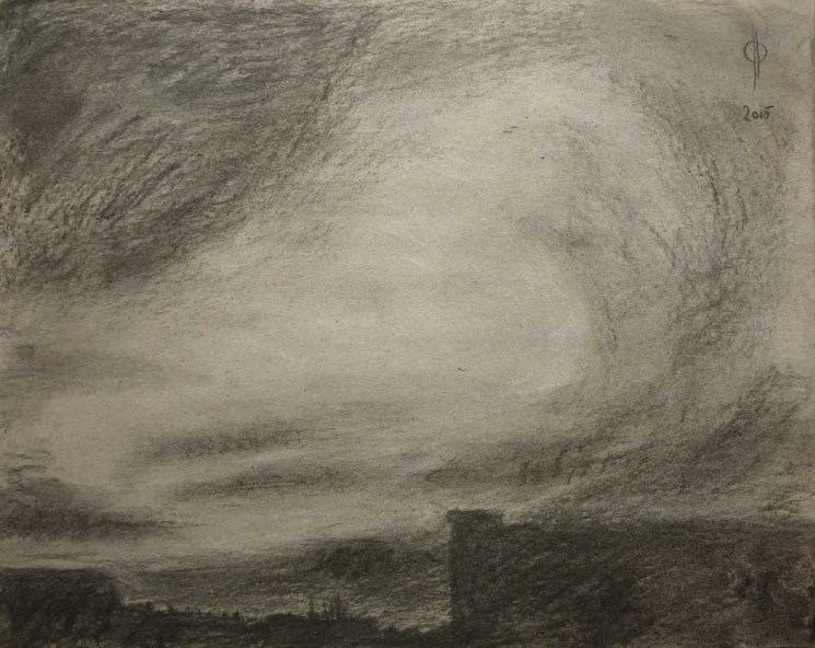Sky 50 - charcoal and chalk on paper, 29.6x37.2cm, 2015