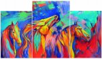 Abstract painting, triptych, Wild mustangs