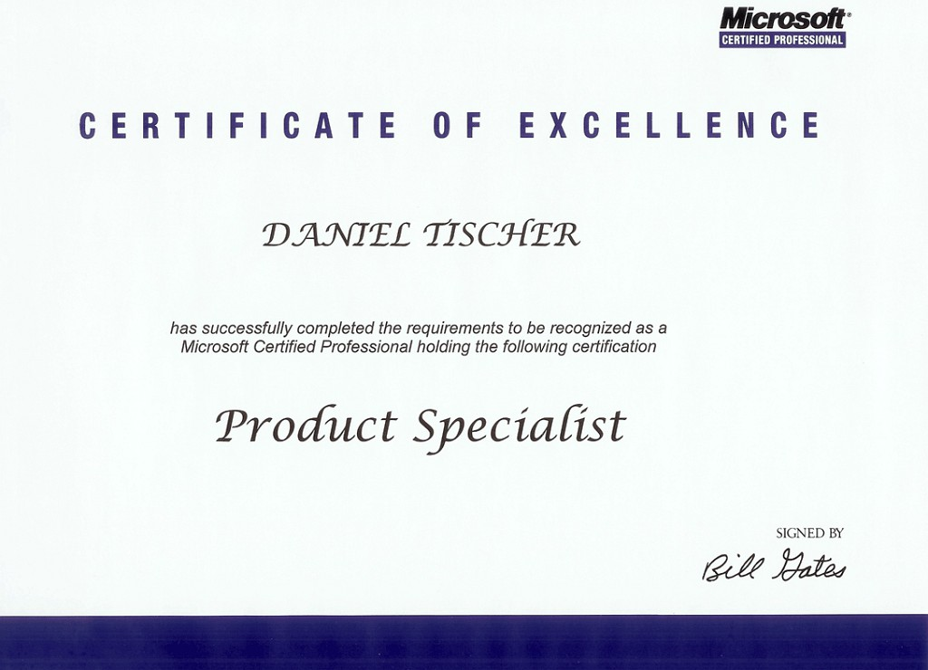 Old Fashioned Microsoft Certificate Of Excellence Pattern