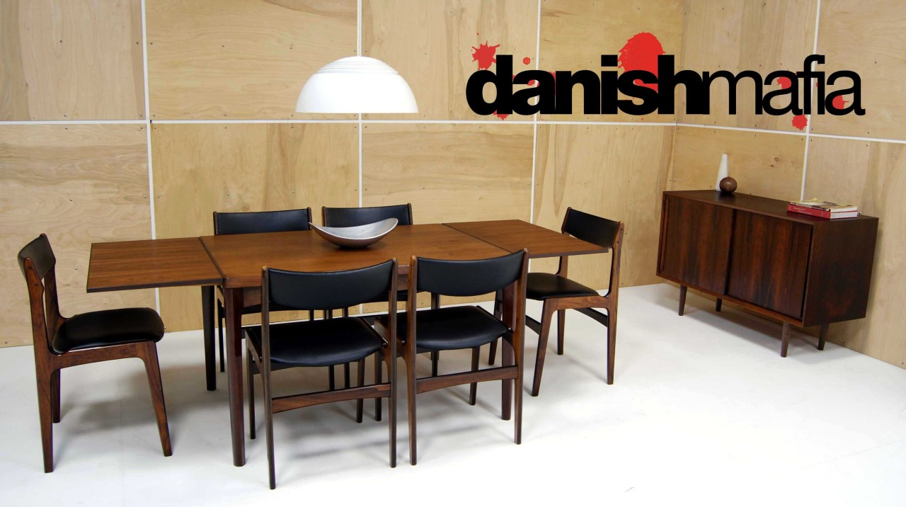 mid century danish modern rosewood complete dining table chair set eames mid century kitchen table MID CENTURY DANISH MODERN ROSEWOOD COMPLETE DINING TABLE CHAIR SET EAMES