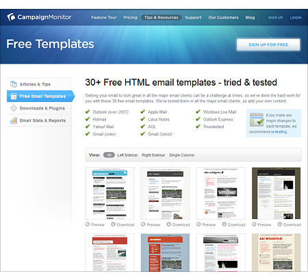 Need some free email newsletter templates? Check out CampaignMonitor