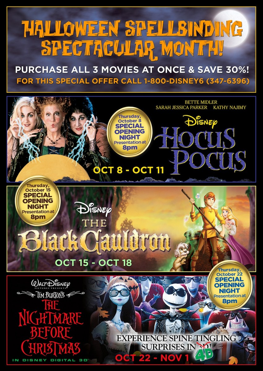 'Hocus Pocus,' 'The Black Cauldron' & 'The Nightmare Before Christmas' Set to Play in the Month of October at the El Capitan Theatre