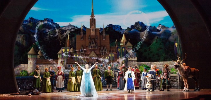 'FROZEN – LIVE AT THE HYPERION' -- A new theatrical interpretation for the stage based on Disney's animated blockbuster film, Frozen is now playing at the Hyperion Theater at Disney California Adventure Park. The show immerses audiences in the emotional journey of Anna and Elsa with all of the excitement of live theater, including elaborate costumes and sets, stunning special effects and show-stopping production numbers. (Scott Brinegar/Disneyland Resort)