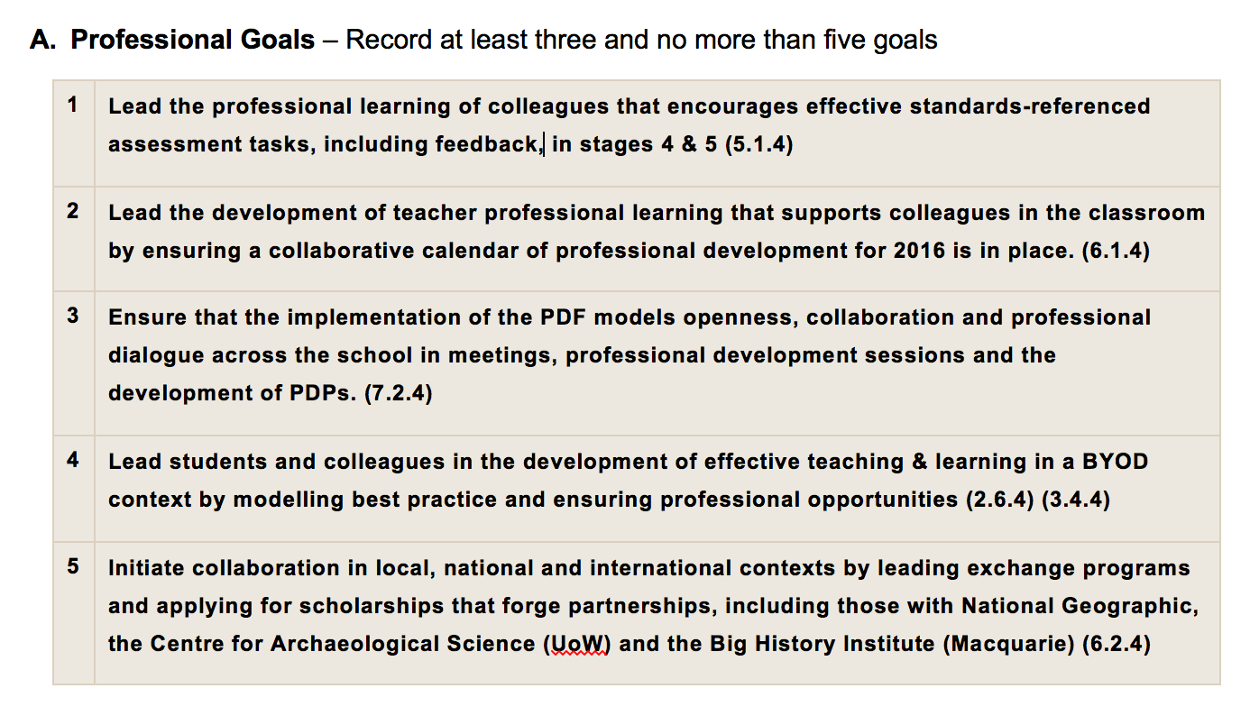 Collaborative Teaching Goals : Performance and development framework darcy moore s