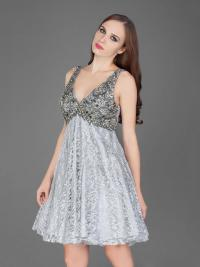 Style J8411 Halter Top Silver Cocktail Dresses  DARIUS ...