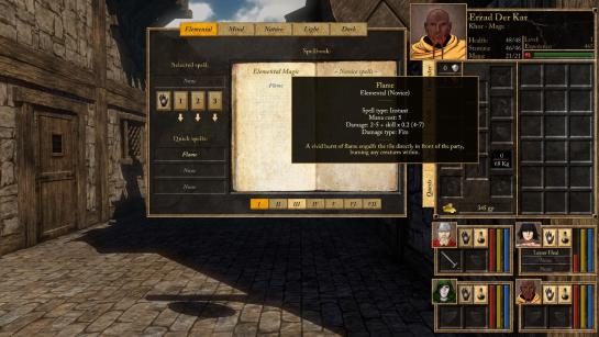A screenshot showing the spell book panel, and, in the lower right, a character ready to cast a quick spell.